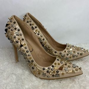 Privileged Galaxy Heels Tan Gold Silver Sz 9
